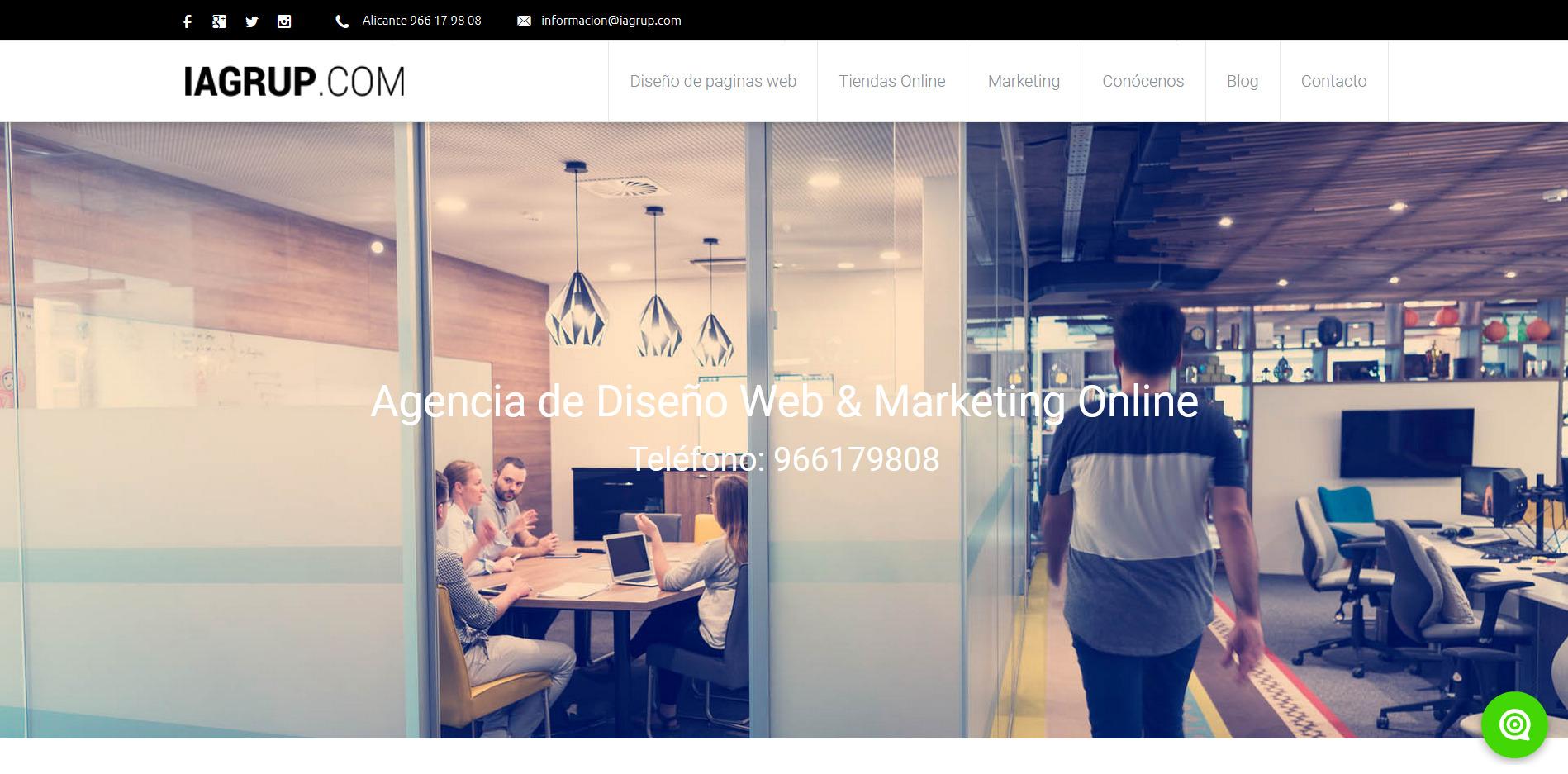 Diseño web Alicante, diseño de tiendas online Alicante. Especialistas en diseño de páginas web Alicante. ✉ informacion@iagrup.com ☎ 966 17 98 08.